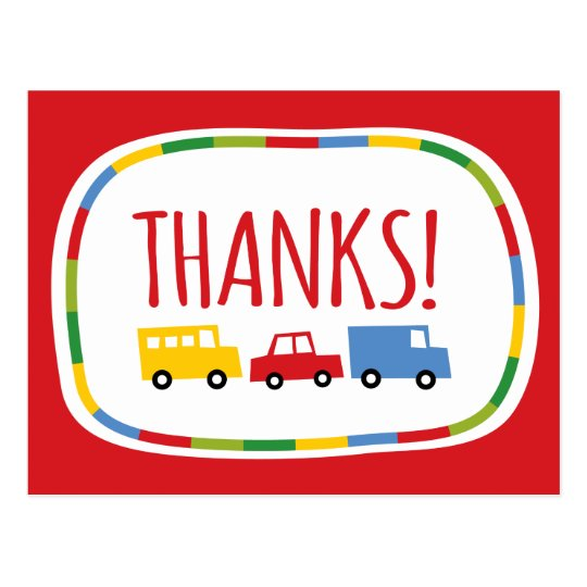Boys Toys Kid's Birthday Party Thank You Note