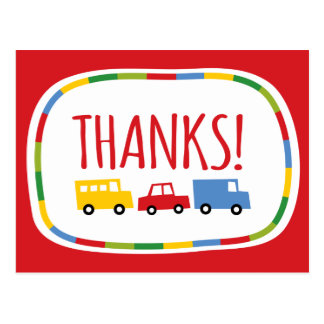 Boys Toys Kids Birthday Party Thank You Postcard