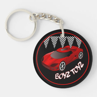 Boys Toys Red Sports Car Acrylic Key Chain