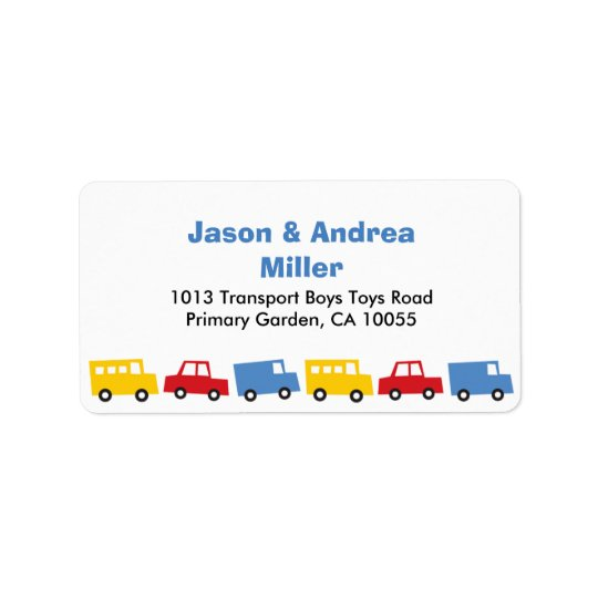 Boys Toys Transport Car Bus Truck Address Labels