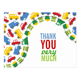 Boys Toys Transport Car Train Bus Truck Thank You Postcard