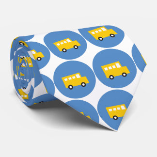 Boy's Toys Yellow Bus Blue Dots Fun Gift Tie