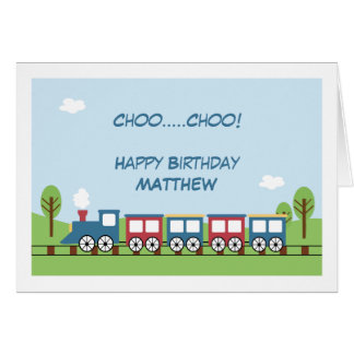 Boys Train 1st or 2nd Birthday Card