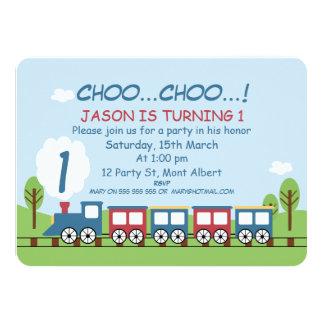 Boys Train 1st or 2nd Birthday Invitation