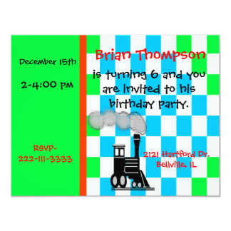 Boy's Train Engine Birthday Invitation