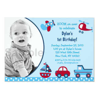 Boys Transportation Photo Birthday Invitations
