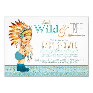 Boys Tribal Boho Wild and Free Baby Shower 13 Cm X 18 Cm Invitation Card