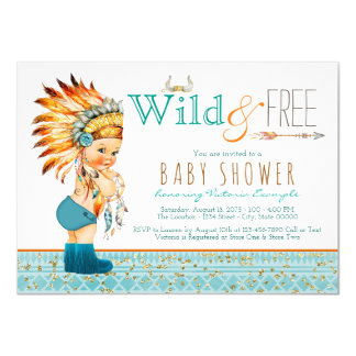 Boys Tribal Wild and Free Baby Shower 11 Cm X 16 Cm Invitation Card