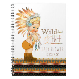 Boys Tribal Wild and Free Baby Shower Guest Book Spiral Note Book