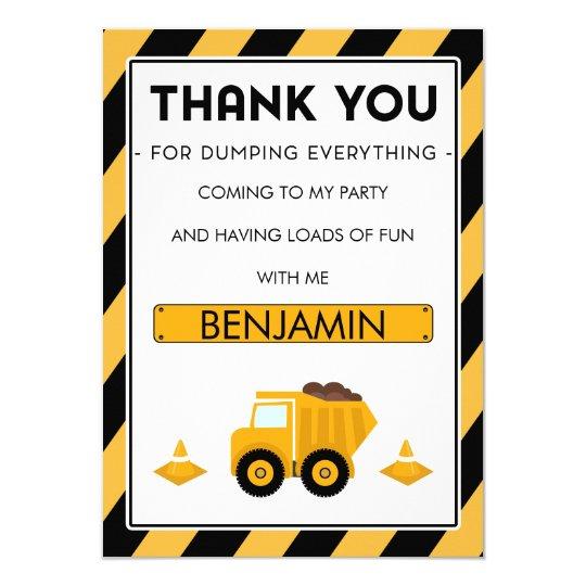 Boys Under Construction Birthday Thank You Card