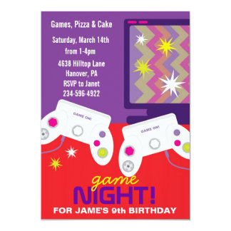 "Boys Video Game Birthday Party Invites 5"" X 7"" Invitation Card"