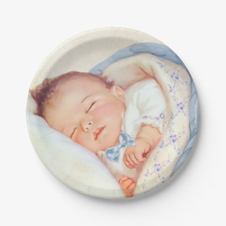 Boys Vintage Baby Shower 7 Inch Paper Plate
