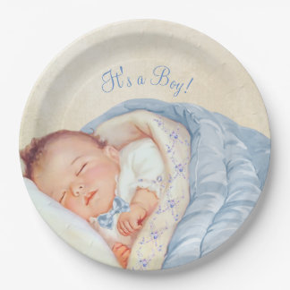 Boys Vintage Baby Shower 9 Inch Paper Plate