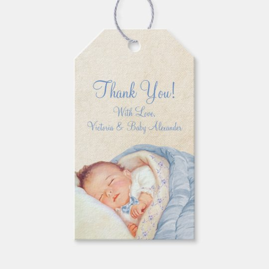 Boys Vintage Blue Baby Shower Gift Tags