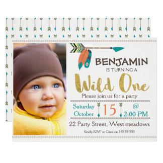 Boys Wild One Arrow 1st Birthday Invitation