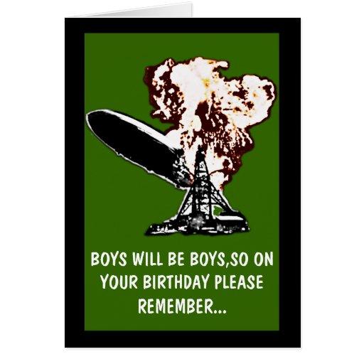 Boys will be boys birthday cards