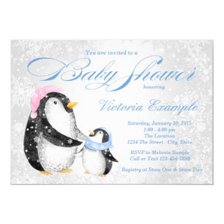 Boys Winter Pengiun Baby Shower Invitation