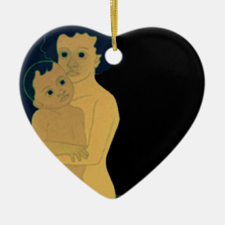 Boys with Topsy Double-Sided Heart Ceramic Christmas Ornament