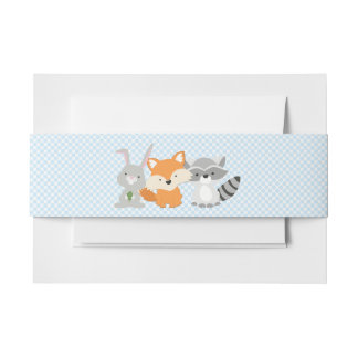 Boys Woodland Animal Baby Shower Invitation Belly Band