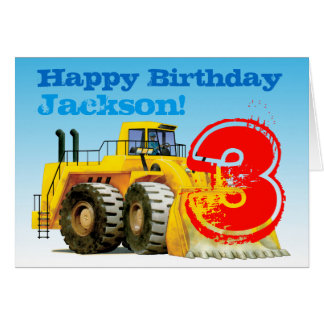 Boy's Yellow Digger Custom 3rd Birthday Card