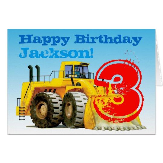 Boy's Yellow Digger Custom 3rd Birthday Card