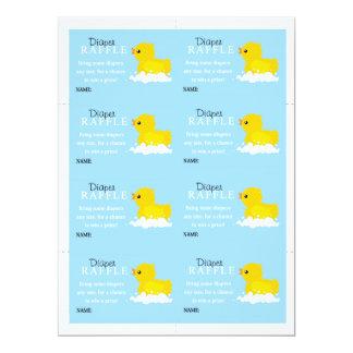 Boys Yellow Duck Diaper Raffle 17 Cm X 22 Cm Invitation Card