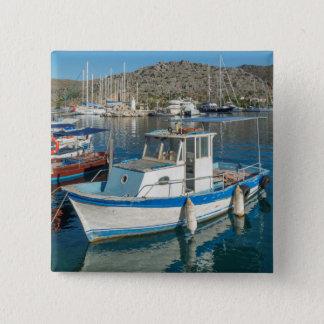 Bozburun Harbour Near Marmaris, Turkey 15 Cm Square Badge