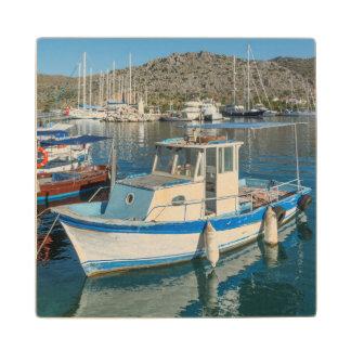 Bozburun Harbour Near Marmaris, Turkey Maple Wood Coaster
