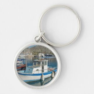 Bozburun Harbour Near Marmaris, Turkey Silver-Colored Round Key Ring