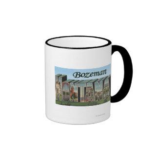 Bozeman, Montana - Large Letter Scenes Ringer Mug