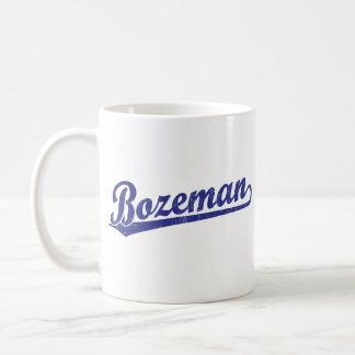 Bozeman script logo in blue basic white mug
