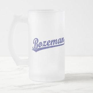 Bozeman script logo in blue frosted glass mug