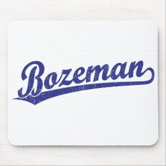 Bozeman script logo in blue mouse pad