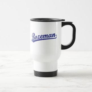 Bozeman script logo in blue mugs