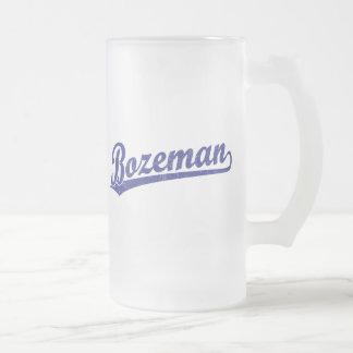 Bozeman script logo in blue coffee mug
