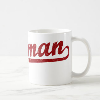 Bozeman script logo in red basic white mug