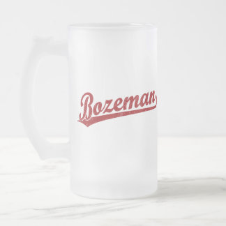 Bozeman script logo in red frosted glass mug