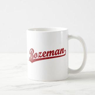 Bozeman script logo in red mugs
