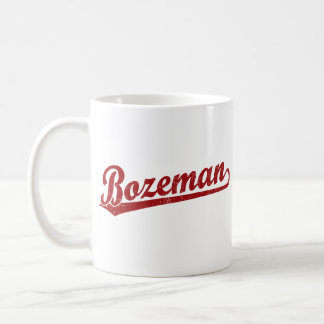 Bozeman script logo in red mug