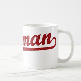 Bozeman script logo in red coffee mugs