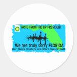 BP TO FLORIDA ROUND STICKERS