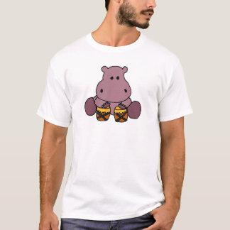 BQ- Awesome Hippo Playing Bongo Drums T-Shirt