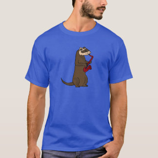 BQ- Funky Ferret Playing the Saxophone T-Shirt