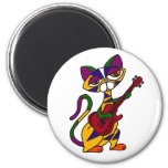 BR- Cool Cat Playing Guitar Cartoon Refrigerator Magnets