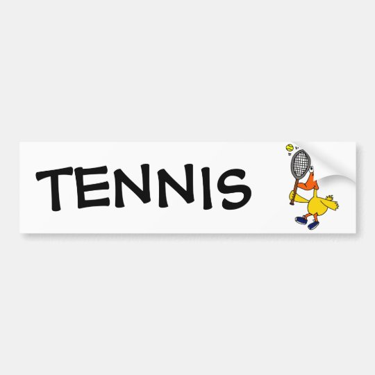 BR- Funny Duck Playing Tennis Bumper Sticker