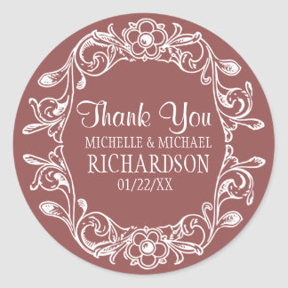BR Vintage Floral Wreath Wedding Favor Round Sticker
