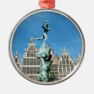 Brabo Fountain Grote Markt Antwerp Belgium Silver-Colored Round Decoration