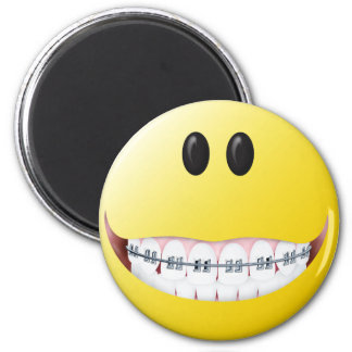 Braces Smiley Face Refrigerator Magnets