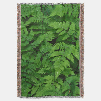 Bracken fern with rain drops, Washington State Throw Blanket