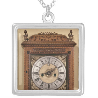 Bracket clock, c.1700 silver plated necklace